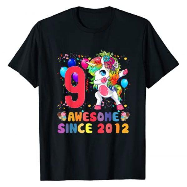9 Years Old Gifts Birthday Unicorn 2012 Shirt Graphic Tshirt 1 9 Years Old 9th Birthday Gifts 2012 Unicorn Dabbing Girls T-Shirt