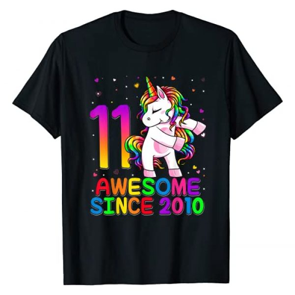 Flossing Unicorn Birthday 2021 Kids Shirts Graphic Tshirt 1 11 Years Old Unicorn Flossing 11th Birthday Girl Unicorn T-Shirt