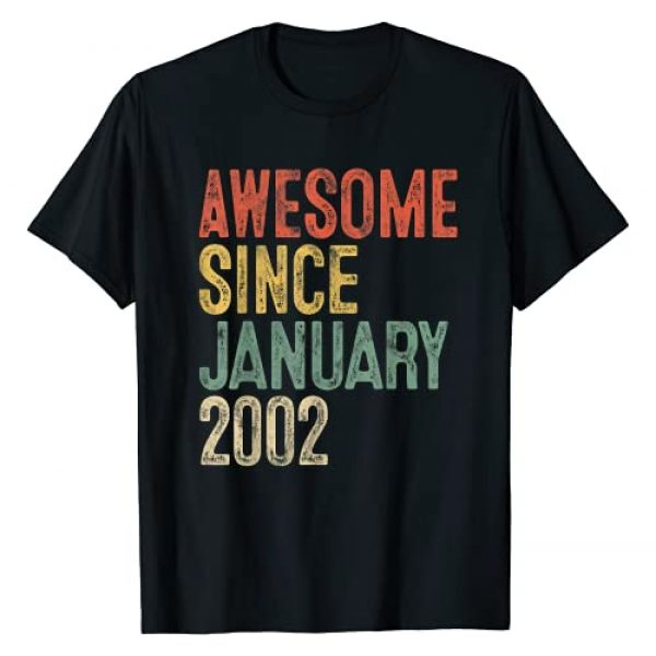 Born in January 2002 Nineteenth Bday 19 yrs Gift Graphic Tshirt 1 Awesome Since January 2002 19th Birthday Gifts 19 Year Old T-Shirt