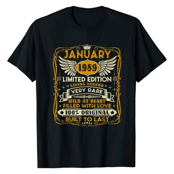 Vintage January 1989 32nd Birthday Gift Graphic Tshirt 1 Vintage January 1989 Shirt 32 Years Old 32nd Birthday Gift T-Shirt