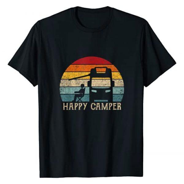 Happy Camper Shirts & Gifts Women Graphic Tshirt 1 Happy Camper RV Camping Shirt Men Women Retro Sun 70s 80s T-Shirt