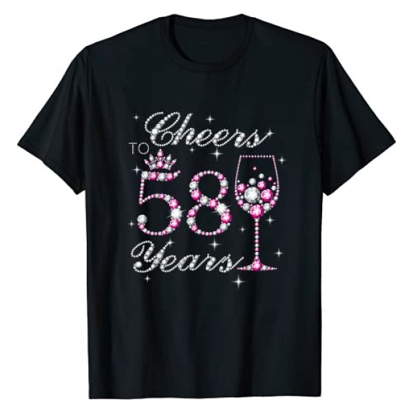 Queens Birthday Gifts Graphic Tshirt 1 Cheers to 58 Years 58th Birthday Gift, Born in 1962 Birthday T-Shirt