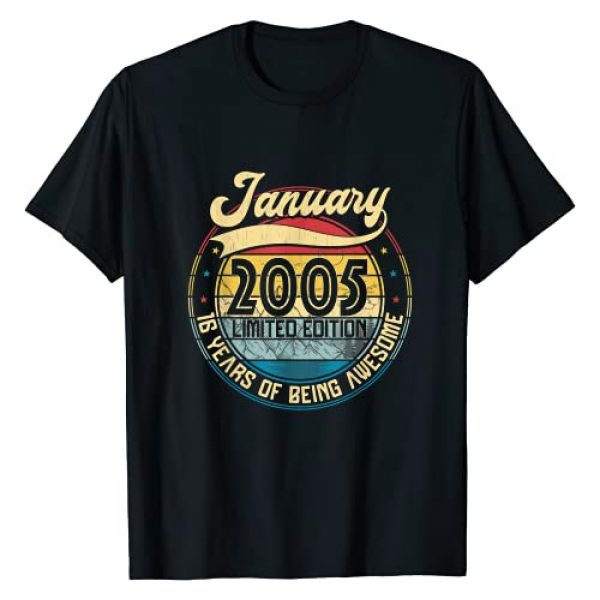 Vintage Retro January 2005 Distressed 16 Yrs Old Graphic Tshirt 1 Vintage Retro January 2005 16th Birthday Gift 16 Years Old T-Shirt