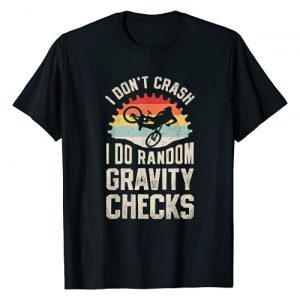 Wheelie Awesome Mountain Biking Co Graphic Tshirt 1 I Don't Crash I Do Random Gravity Checks Mountain Biking T-Shirt
