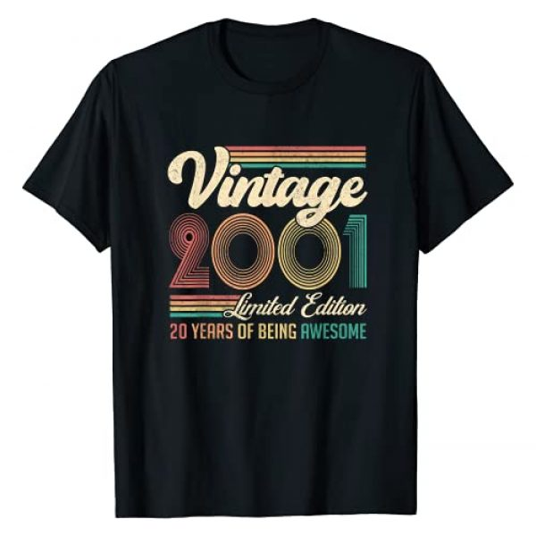 Retro Vintage 20 Years Born in 2001 Turning 20 Graphic Tshirt 1 20 Years Old 20th Birthday Gift Born in 2001 Gifts Men Women T-Shirt
