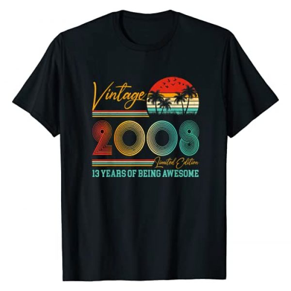 Vintage 13 Years Born in 2008 Turning 13 in 2021 Graphic Tshirt 1 13th Birthday Gift Boy Girl Vintage 2008 Retro 13 Years Old T-Shirt