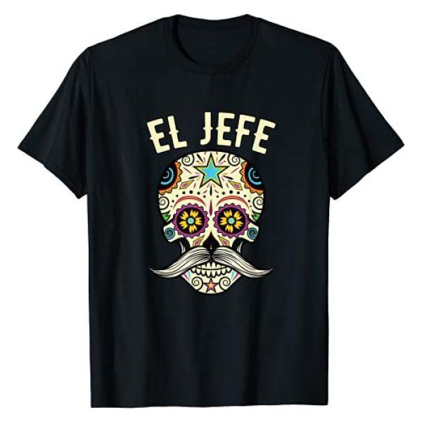 Sugar Skull Shirt For Dia De Los Muertos Mejeo Co. Graphic Tshirt 1 El Jefe Shirt Men Mexican Boss Sugar Skull Day Of The Dead T-Shirt