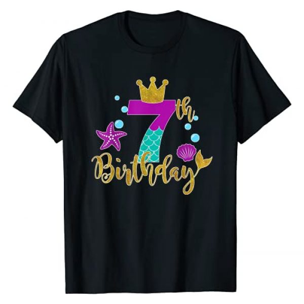 Birthday Girl Mermaid T Shirt For all Years old Graphic Tshirt 1 Birthday Mermaid T Shirt For 7 Years Old Tee Gift For Girls T-Shirt
