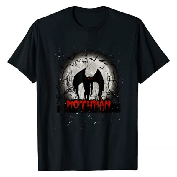 Visit Folklore Occult Gothic Graphic Tshirt 1 Dark Moon With Bats and Mothman Folklore T-Shirt