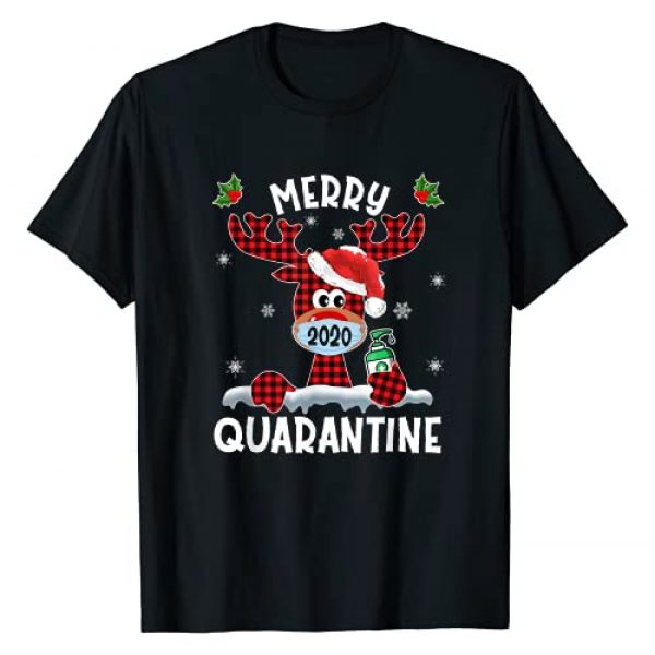 Merry Quarantine Christmas 2020 Reindeer Gifts Graphic Tshirt 1 Merry Quarantine Christmas 2020 Reindeer Mask Family Pajamas T-Shirt