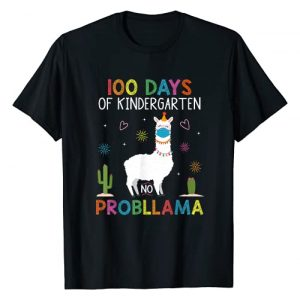 Happy 100th Day Virtual Teachers Graphic Tshirt 1 100 Days of Kindergarten No Probllama Llama Mask Quarantine T-Shirt