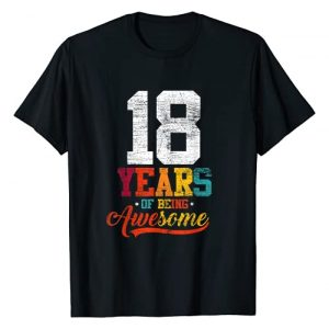 Bday Outfit Birthday Men Women Vintage Retro Graphic Tshirt 1 18 Years Of Being Awesome Gifts 18 Years Old 18th Birthday T-Shirt