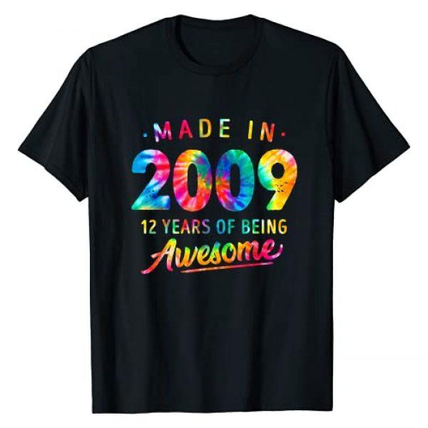 12th Birthday Dye Gifts Graphic Tshirt 1 12 Years Old 12th Birthday Made 2009 Tie Dye Gift Men Women T-Shirt