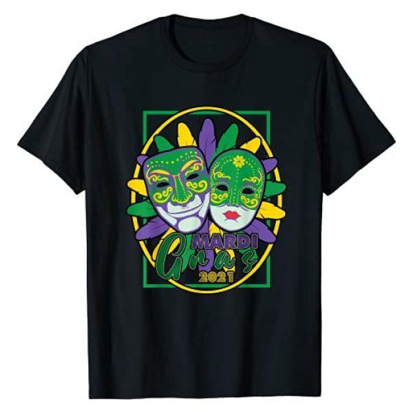 Mardi Gras Apparel Corp. Graphic Tshirt 1 Fun Mardi Gras 2021 Novelty Festive Party Happy Sad Faces T-Shirt