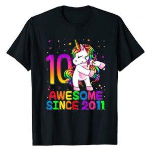 Flossing Unicorn Birthday 2021 Kids Shirts Graphic Tshirt 1 10 Years Old Unicorn Flossing 10th Birthday Girl Unicorn T-Shirt