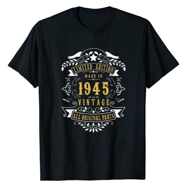 Jomqueru Birthday Tees Graphic Tshirt 1 76 years old Made in 1945 76th Birthday Gift Idea Vintage T-Shirt
