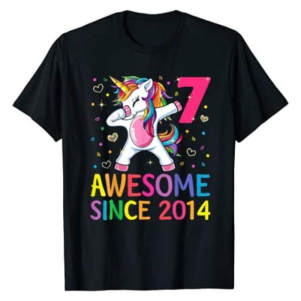 Unicorn 2021 and 2020 Shirts Graphic Tshirt 1 7 Years Old 7th Birthday Unicorn Dabbing Shirt Girl Party T-Shirt
