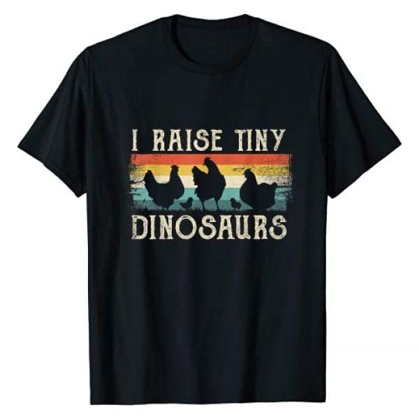 Funny Chicken Shirts & Vintage Gifts Men Women Graphic Tshirt 1 I Raise Tiny Dinosaurs TShirt Retro 70S Chicken Silhouette T-Shirt