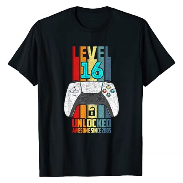 Vintage Birthday Gamer Apparel Gifts Graphic Tshirt 1 Level 16 Unlocked 16th Birthday Awesome 2005 16 Years Old T-Shirt