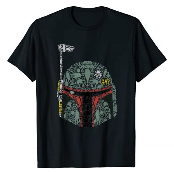 Star Wars Graphic Tshirt 1 Boba Fett Silhouette Helmet Fill Graphic T-Shirt T-Shirt