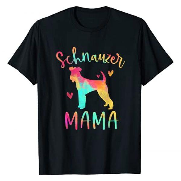 Schnauzer Lover Apparel For Women Girls Graphic Tshirt 1 Schnauzer Mama Colorful Schnauzer Gifts Dog Mom T-Shirt