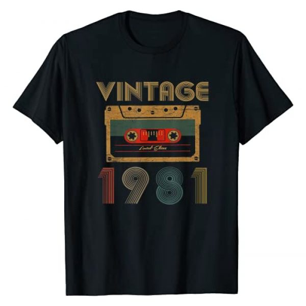 Made in Birthday Apparel Graphic Tshirt 1 40 Years Old Made in 1981 Vintage 1981 Best of 40th birthday T-Shirt