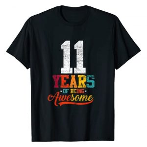 Bday Outfit Birthday Men Women Vintage Retro Graphic Tshirt 1 11 Years Of Being Awesome Gifts 11 Years Old 11th Birthday T-Shirt