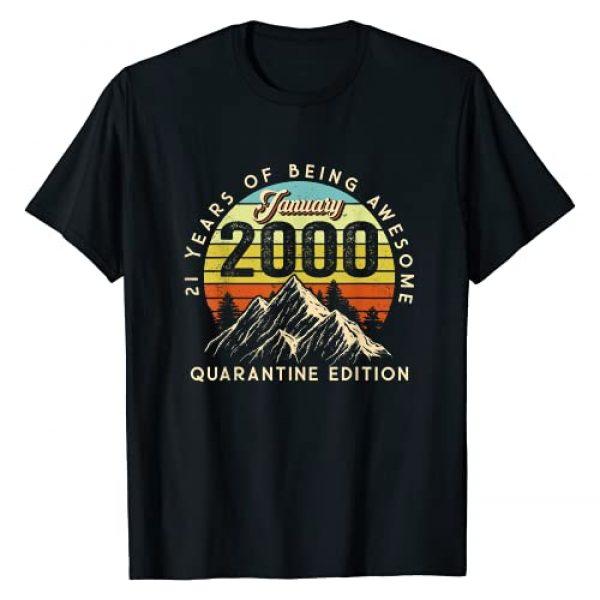 Vintage Janurary 2000 21st Birthday Shirt 21 Years Graphic Tshirt 1 Born January 2000 Birthday Gift Made in 2000 21 Years Old T-Shirt