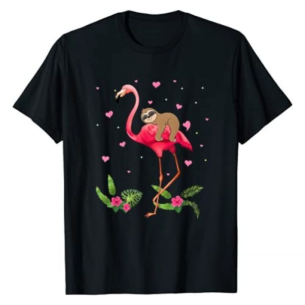 Happy Valentine's Day Sloth And Flamingo Gifts Graphic Tshirt 1 Sloth Riding Flamingo Funny Valentine Sloth Lover Gifts T-Shirt