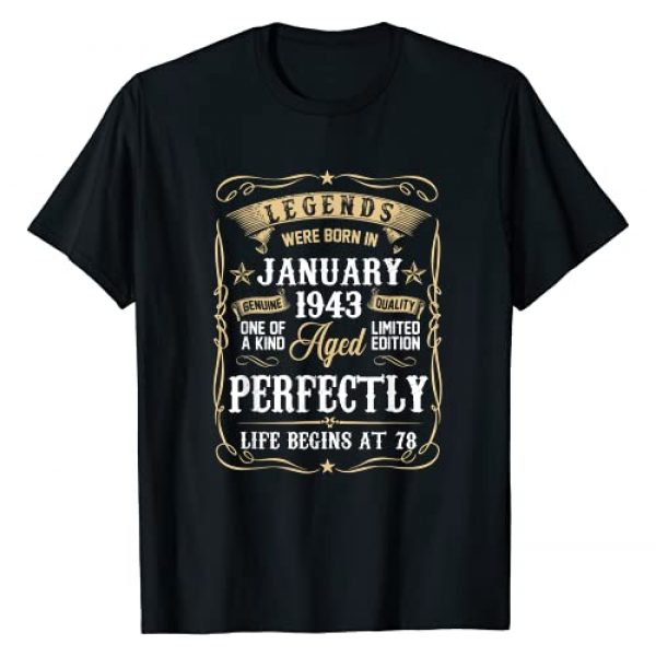 January Birthday Gift for family Graphic Tshirt 1 January 1943 78th Birthday Gift 78 Year Old Men Women T-Shirt
