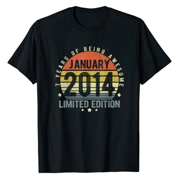 Funny 7th Birthday Retro January 2014 Gift Boys Graphic Tshirt 1 January 2014 Vintage 7 Years Old Retro 7th Birthday Gift Boy T-Shirt