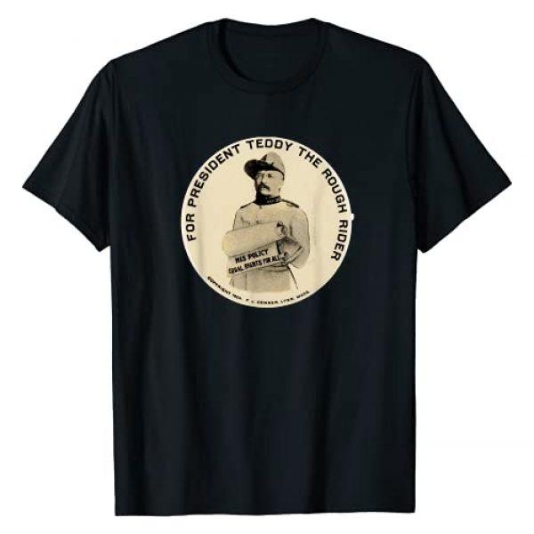 America Vintage Graphic Tshirt 1 Retro Teddy Roosevelt Campaign Button Shirt Art-Rough Rider T-Shirt