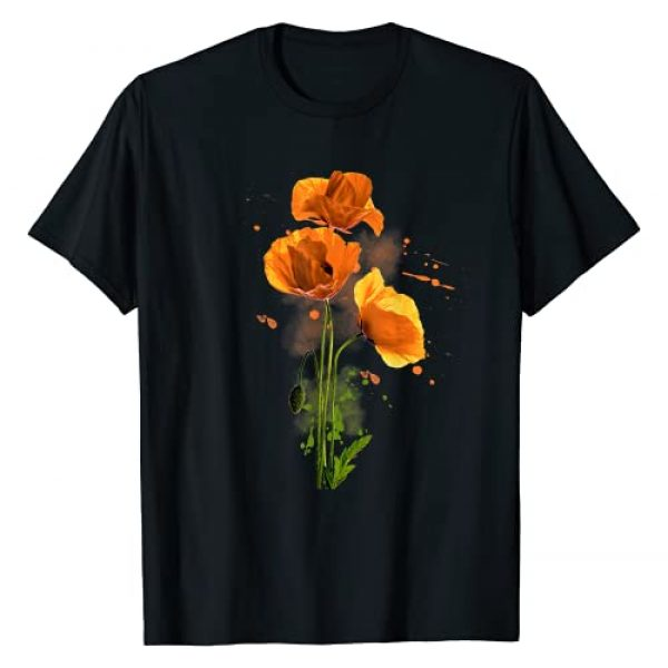 Nature Flowers Lover Plant Lady Planter Farmer Tee Graphic Tshirt 1 Watercolor Yellow Poppy Flower Bouquet Gardening Plants Gift T-Shirt