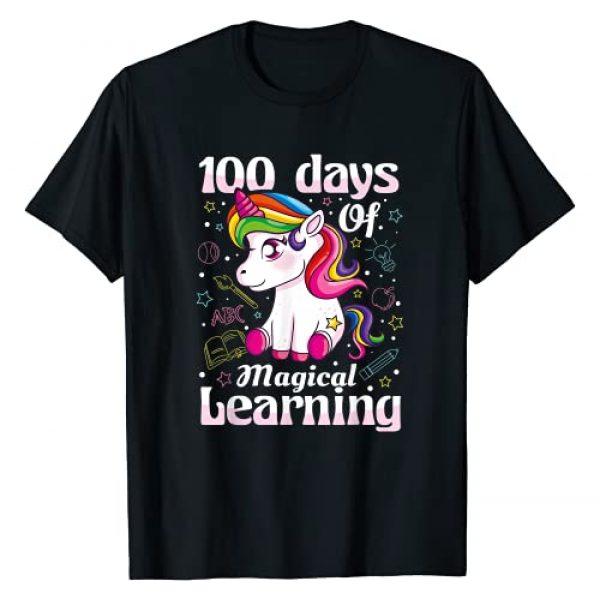 Happy 100 Days of School T-Shirt Co. Graphic Tshirt 1 100th Day of School Unicorn T Shirt Girls 100 Days of School T-Shirt