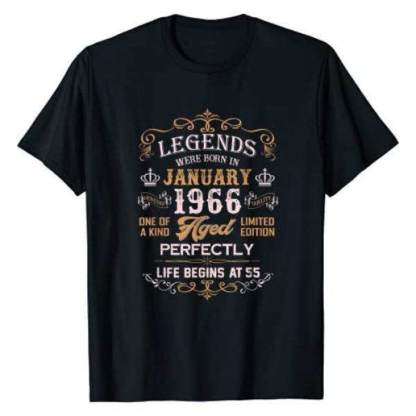 Vintage January 1966 55th Birthday Gifts Tees Graphic Tshirt 1 Legends Were Born In January 1966 55th Birthday Gifts T-Shirt