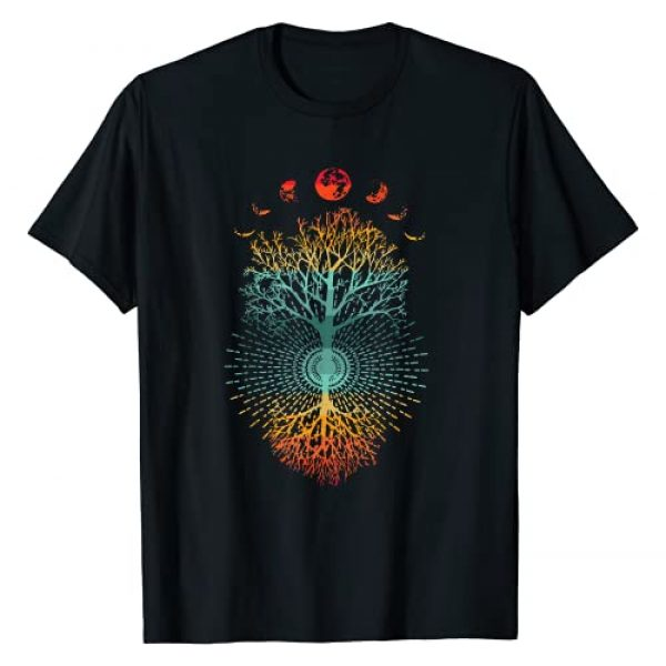 Summer Vintage Graphic Vibe Wrinkled Hippie Graphic Tshirt 1 Phases of the Moon Retro 60's 70's Vibe Tree of Life Graphic T-Shirt