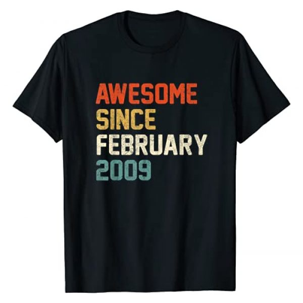 Born In February 2009 Birthday Gift 12 Years Old Graphic Tshirt 1 Awesome Since February 2009 12th Birthday Gift 12 Year Old T-Shirt