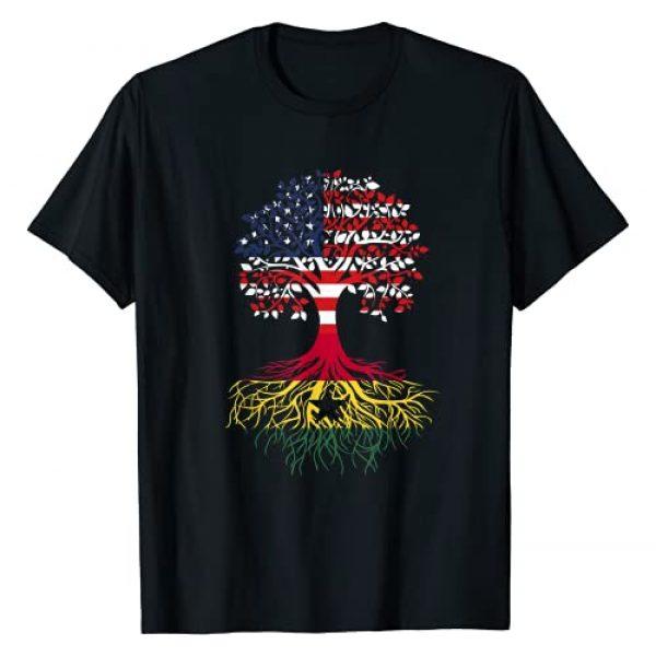 VIMP36 Roots Graphic Tshirt 1 Ghanaian Roots American Grown Tree Flag T-Shirt