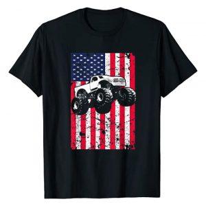 My Monster Crush Apparel Graphic Tshirt 1 Monster Truck American Flag Racing USA Patriotic T-Shirt