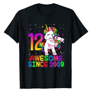 Flossing Unicorn Birthday 2021 Kids Shirts Graphic Tshirt 1 12 Years Old Unicorn Flossing 12th Birthday Girl Unicorn T-Shirt