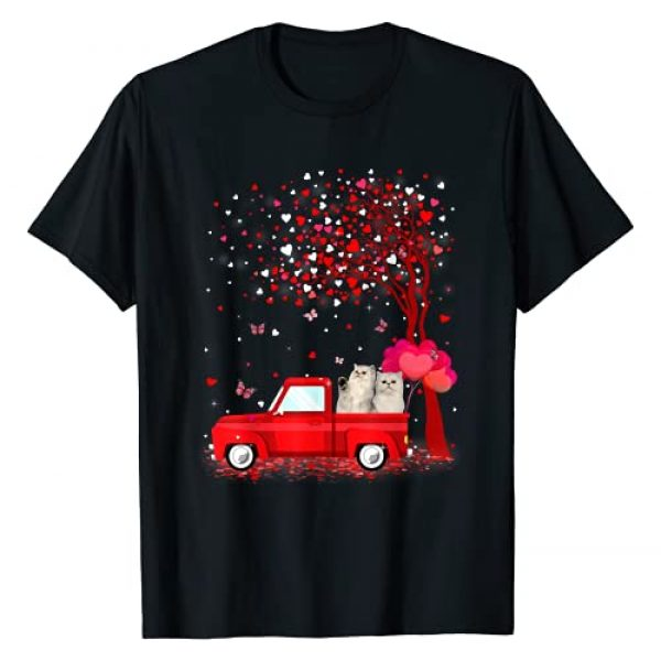Persian Valentines Day Hearts Red Truck Graphic Tshirt 1 Persian Valentine's Day Gifts Cats Red Truck Hearts T-Shirt