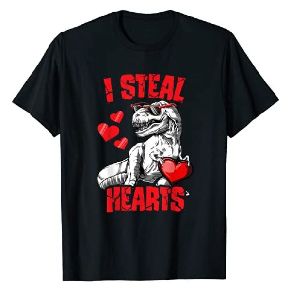 Puntastic Valentines Day Graphic Tshirt 1 Boys Valentines Day Kids Dinosaur T rex Lover I Steal Hearts T-Shirt