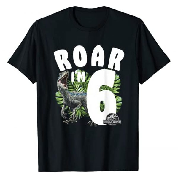 Jurassic World Graphic Tshirt 1 Birthday Raptor Roar I'm 6 T-Shirt