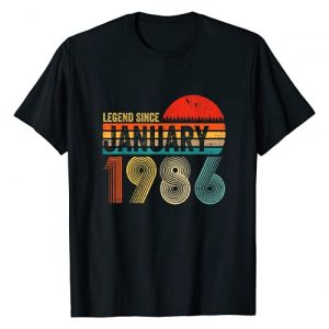 Legend Since January 1986 35Th Years Bday Gifts Graphic Tshirt 1 35 Years Old Retro Birthday Gift Legend Since January 1986 T-Shirt