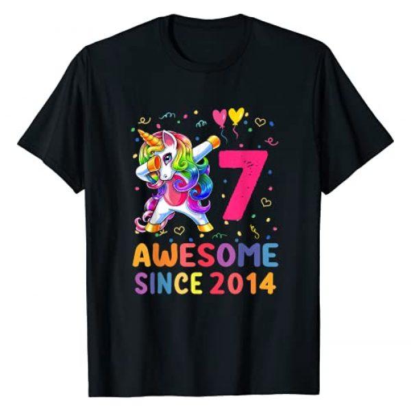 7 Years Old Gifts Birthday Unicorn 2014 Shirt Graphic Tshirt 1 7 Years Old 7th Birthday Gifts 2014 Unicorn Dabbing Girls T-Shirt