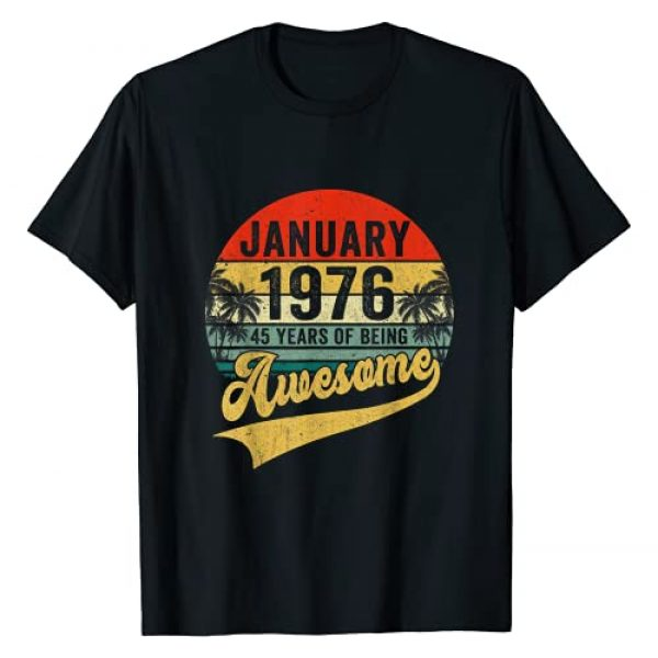 Vintage January 1976 45 Years Old 45th Bday Gift Graphic Tshirt 1 Vintage Retro January 1976 45th Birthday Gifts 45 Years Old T-Shirt