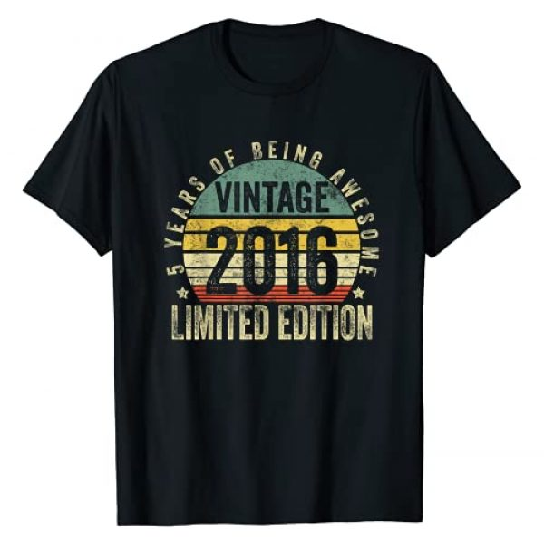 Vintage Being Awesome Birthday Gifts Graphic Tshirt 1 5 Year Old Gifts Vintage 2016 Limited Edition 5th Birthday T-Shirt