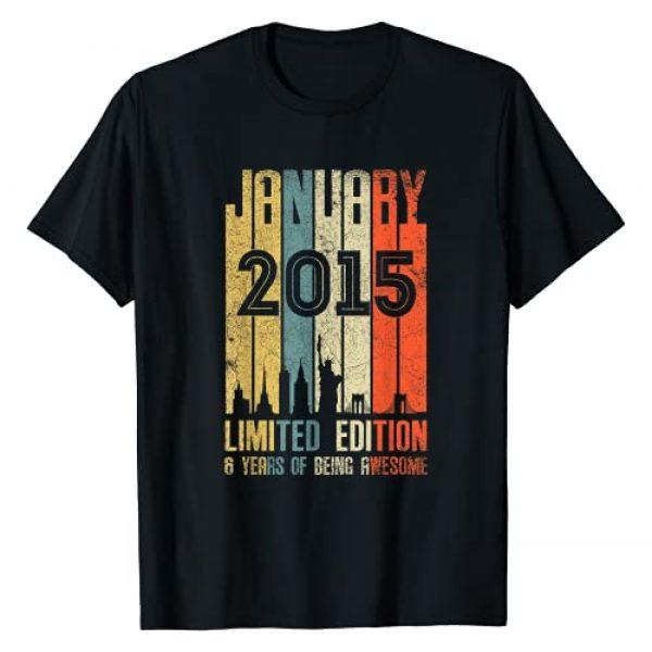 Vintage 6th Birthday Tshirt 6th Birthday Vintage Graphic Tshirt 1 January 2015 T Shirt 6 Year Old Shirt 2015 Birthday Gift T-Shirt