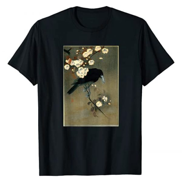 Japanese Woodblock Print Apparel Co. Graphic Tshirt 1 Japanese Aesthetic Crow Cherry Blossom Woodblock Art Print T-Shirt
