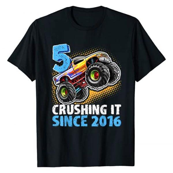 Monster Truck Birthday Apparel Graphic Tshirt 1 5 Crushing It Since 2016 Monster Truck 5th Birthday Gift Boy T-Shirt